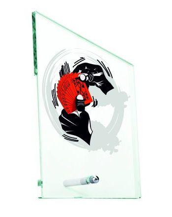 Trofeum szklane z nadrukiem kolorowym LuxorJet- karty