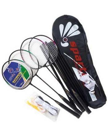 Zestaw do badmintona 5W1 słupki siatka rakiety lotki pokrowiec SPARTAN PRO 500