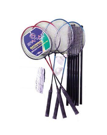Zestaw do badmintona 5W1 słupki siatka rakiety lotki pokrowiec SPARTAN 500