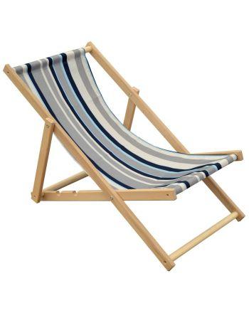 Leżak plażowy drewniany classic w pasy