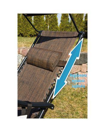 Leżak ogrodowy składany wielofunkcyjny ze stolikiem daszkiem i gazetownikiem 175x52/65x110cm brązowy