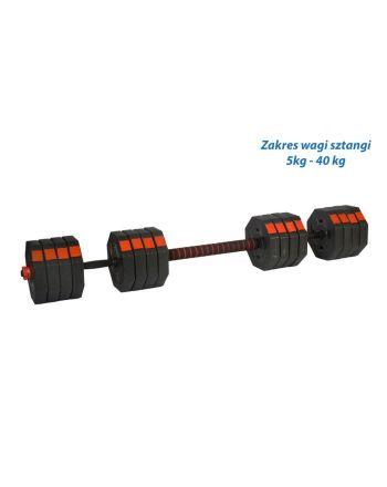 Regulowane hantle treningowe 2x20kg z funkcją sztangi Eb Fit
