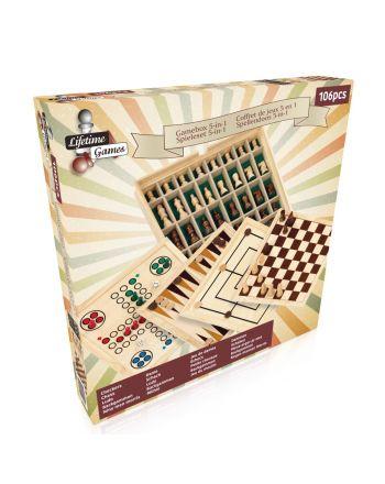 Zestaw Szachy Warcaby Chińczyk  Backgammon 5W1