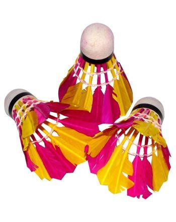 Lotka badminton z piór 3szt kolorowa