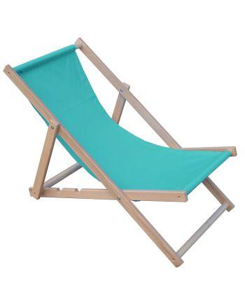 Leżak plażowy składany drewniany błękitny Royokamp