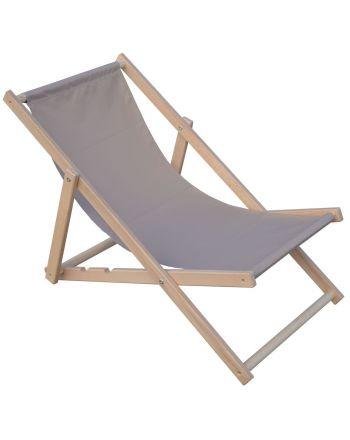 Leżak plażowy składany drewniany szary Royokamp