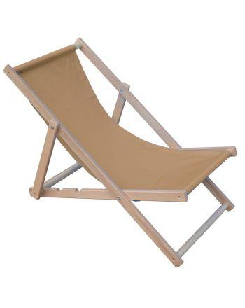 Leżak plażowy składany drewniany beżowy Royokamp